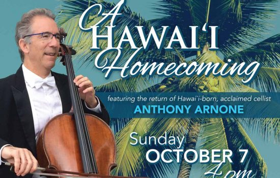 Cover image for the KPO concert A Hawaii Homecoming on Sunday October 7 at 4pm at the Kahilu Theatre in Waimea