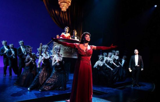 Allison Blackwell performing in Pretty Woman: The Musical on Broadway.