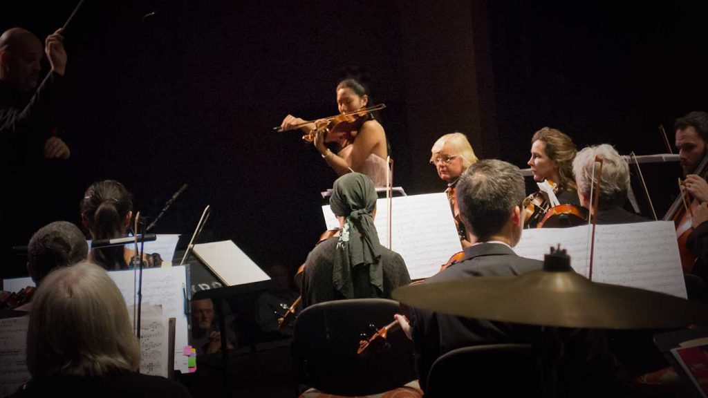 Allyson Kwong performing with the Kamuela Philharmonic at Kahilu Theatre